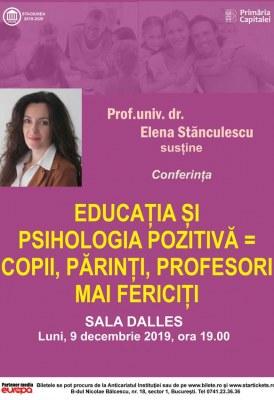 """<span class=""""entry-title-primary"""">Educația și psihologia pozitivă = copii, părinți, profesori mai fericiți</span> <span class=""""entry-subtitle"""">9.12.2019, ora 19.00</span>"""