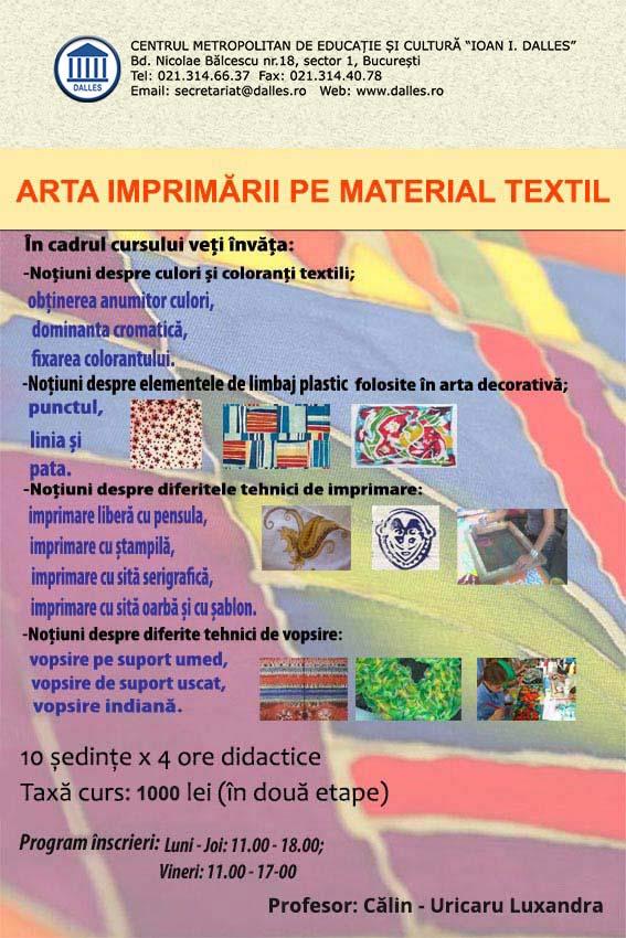 Curs de Serigrafie - Arta imprimării pe material textil