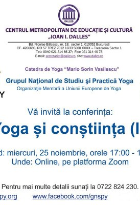 """<span class=""""entry-title-primary"""">Yoga și conștiința (II)</span> <span class=""""entry-subtitle"""">25.11.2020, ora 17.00</span>"""